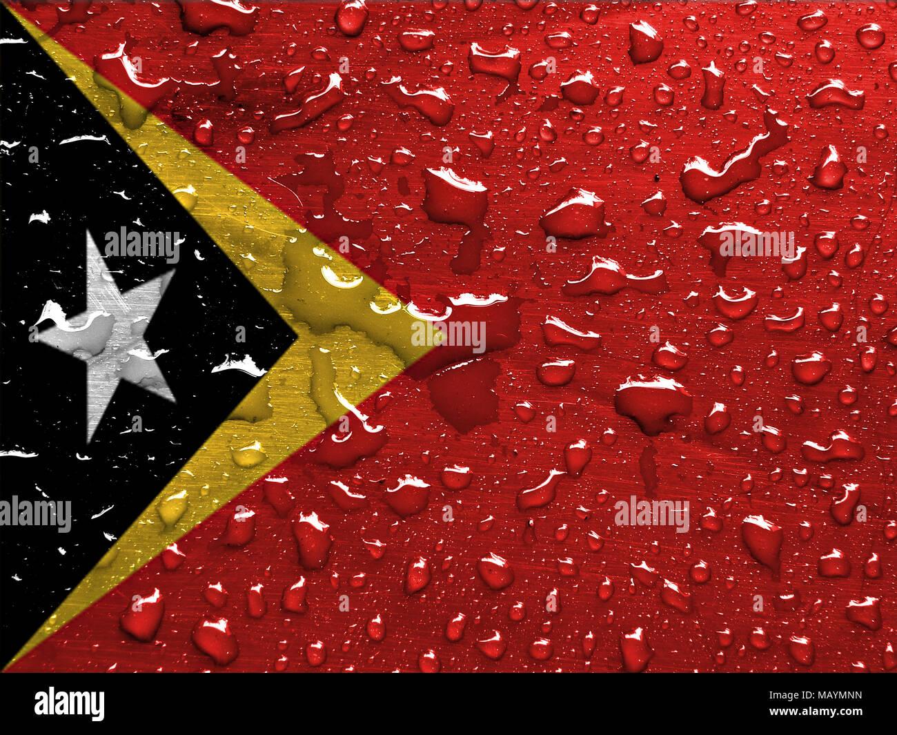 flag of East Timor with rain drops - Stock Image