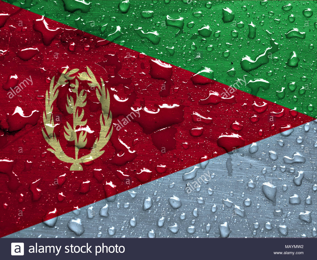 flag of Eritrea with rain drops - Stock Image