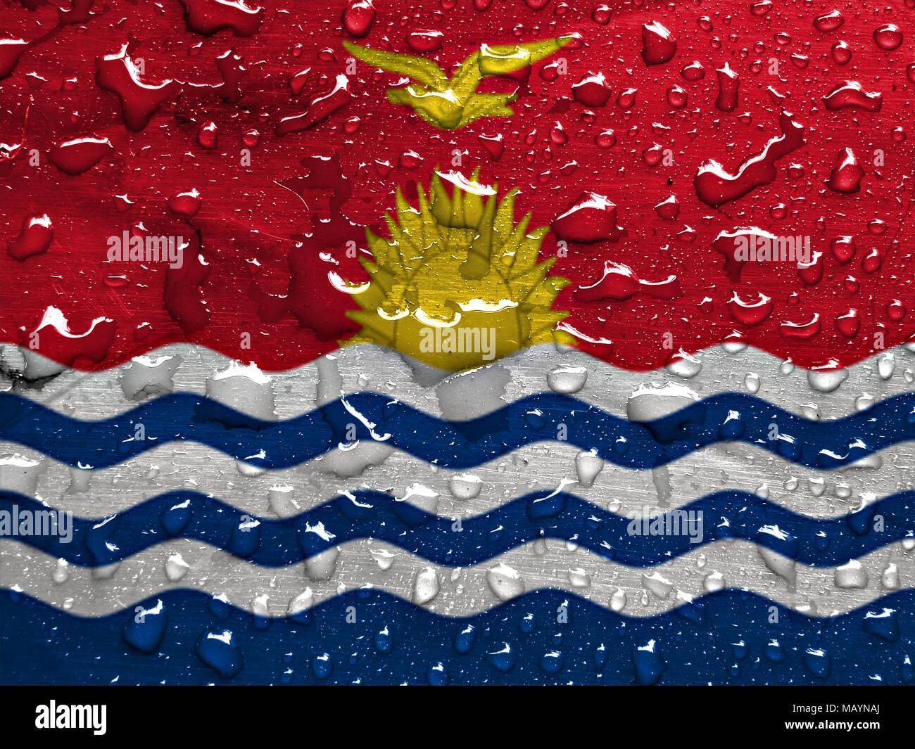 flag of Kiribati with rain drops - Stock Image