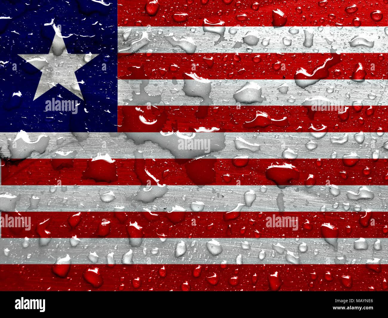 flag of Liberia with rain drops - Stock Image