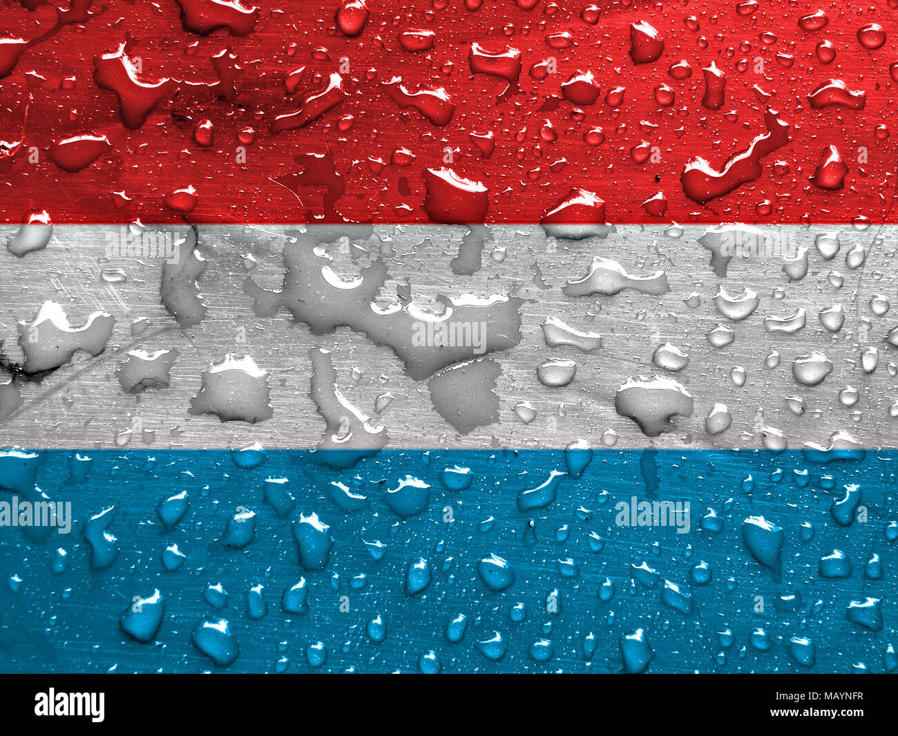 flag of Luxemburg with rain drops - Stock Image