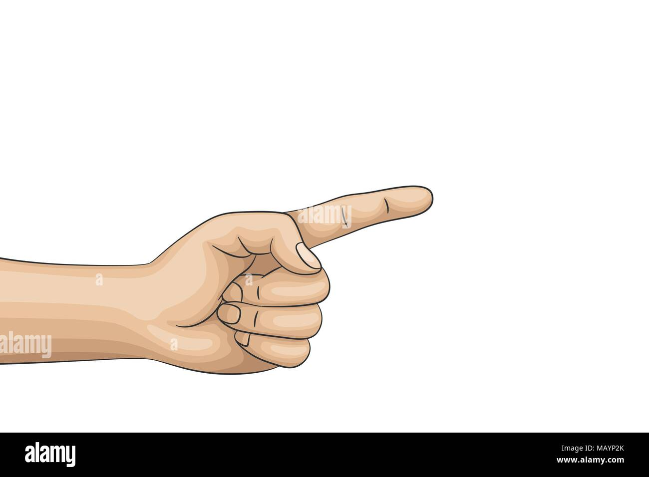 Someone points a finger at something.  - Stock Vector