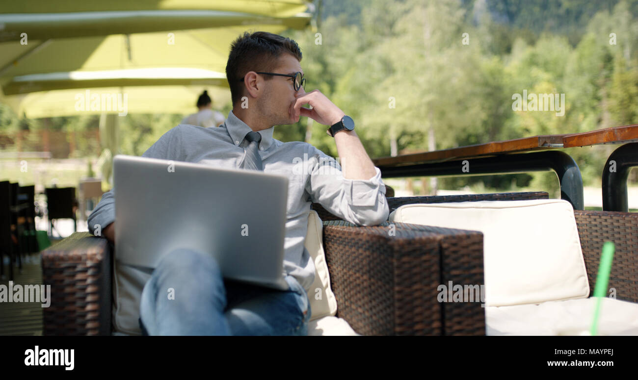 Bussiness man in caffe with bussines plan Stock Photo