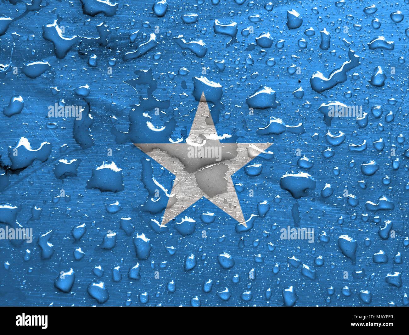 flag of Somalia with rain drops - Stock Image