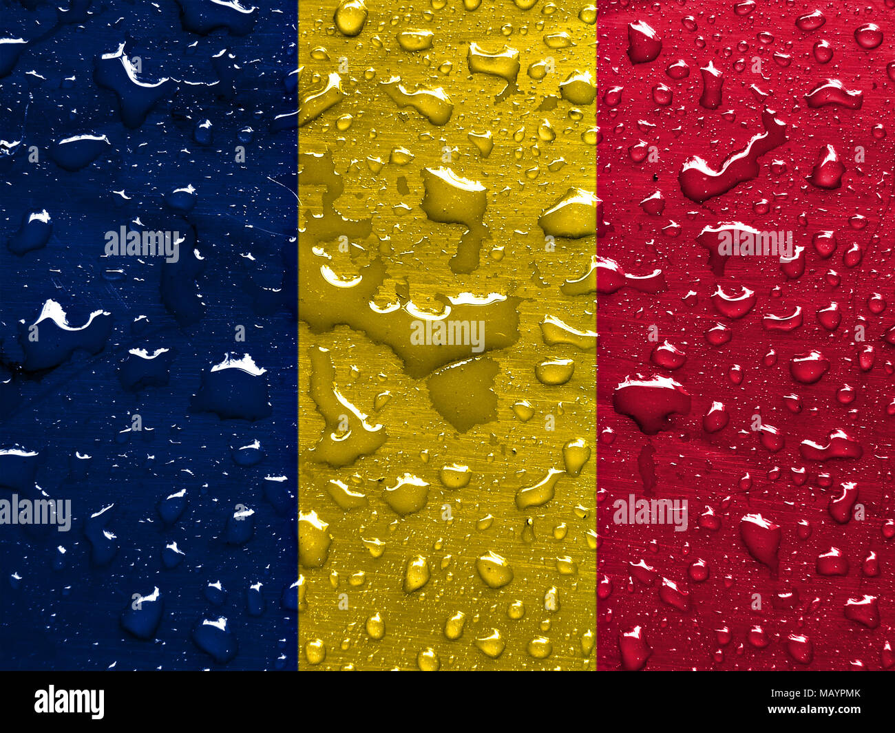 flag of Tchad with rain drops - Stock Image