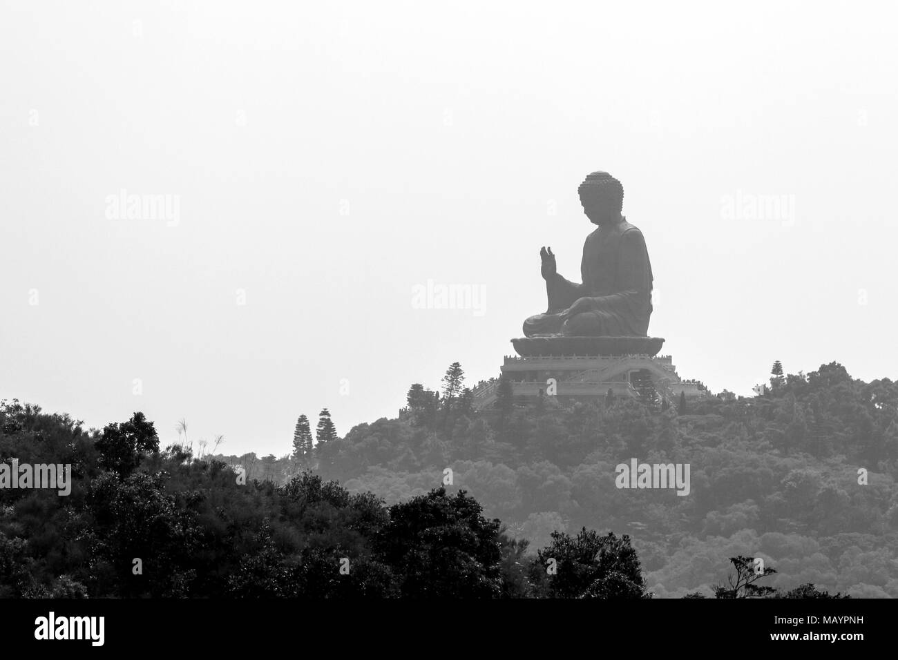Giant Buddha. Po Lin Monastery in Hong Kong. - Stock Image