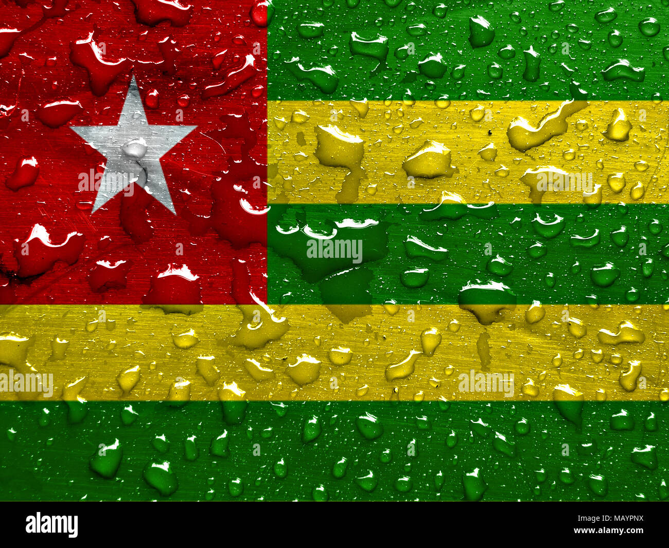 flag of Togo with rain drops - Stock Image