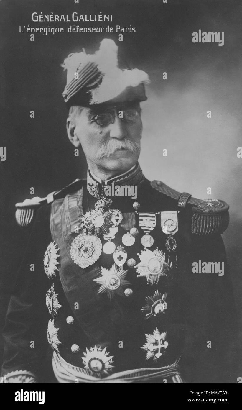 Portrait of the General Joseph Simon  Gallieni  around 1915( 1849 - 1916 )  -  photography by    Henri Manuel ( 1874 - 1947 ) - Stock Image