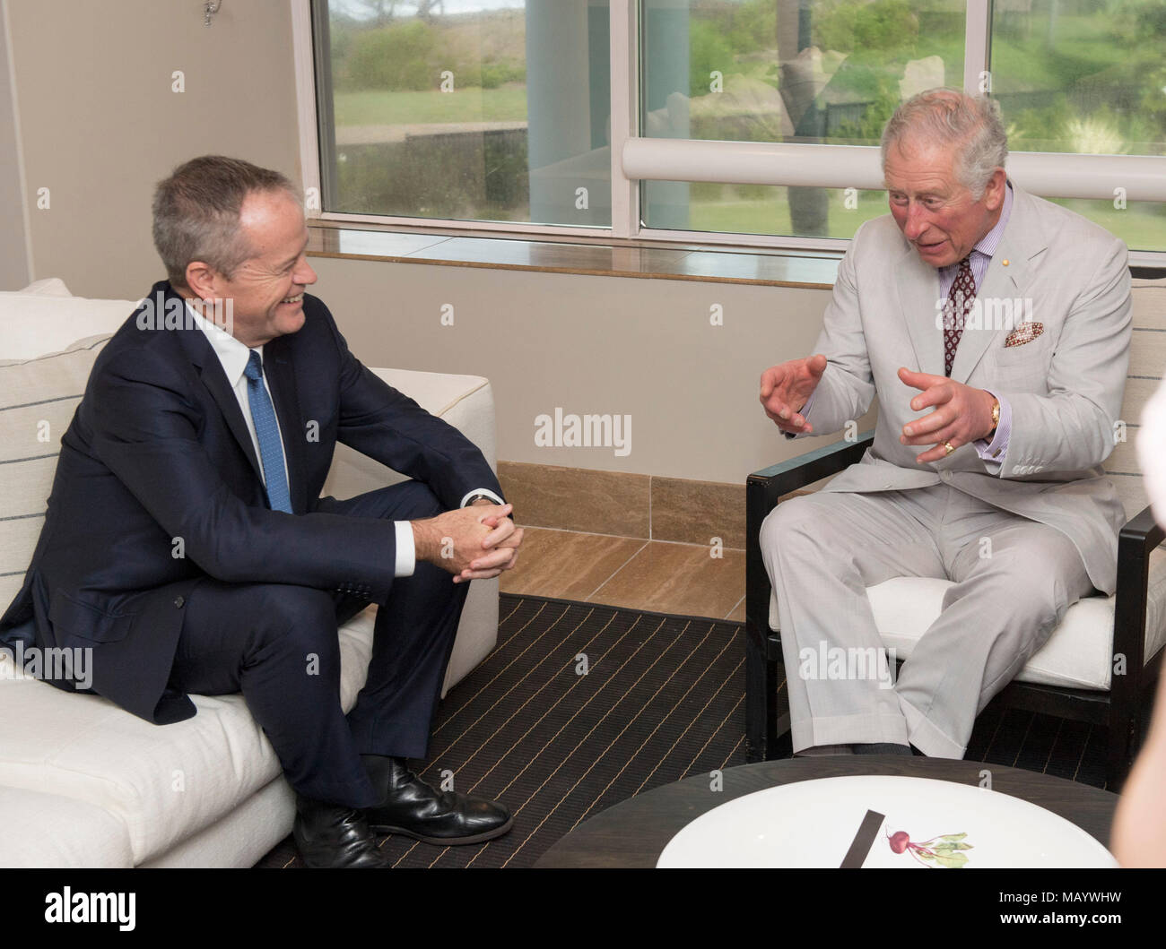 The Prince of Wales (right) meeting with leader of the
