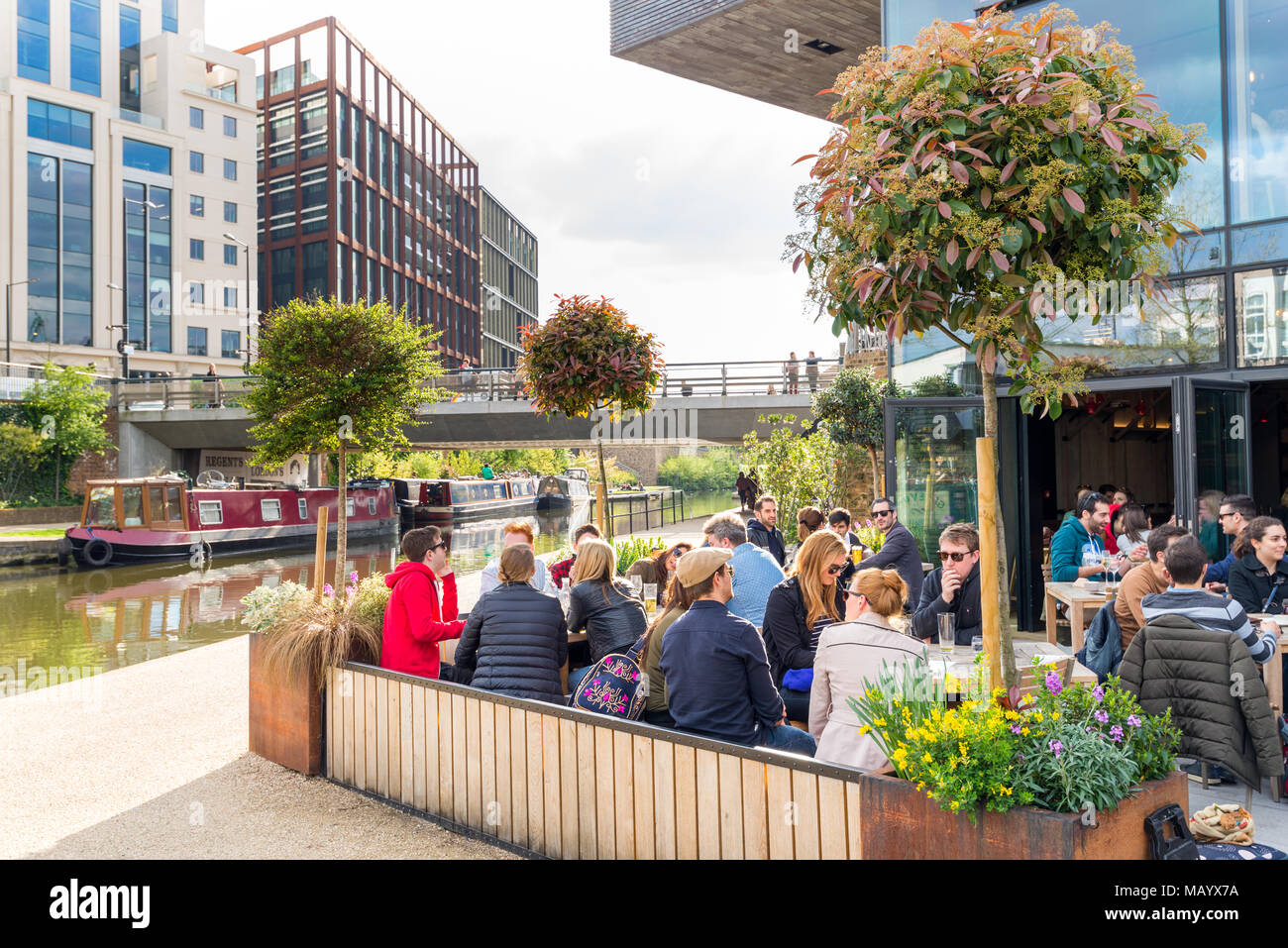 The Lighterman pub besides the Regent's Canal, Granary Square, King's Cross, London, UK - Stock Image