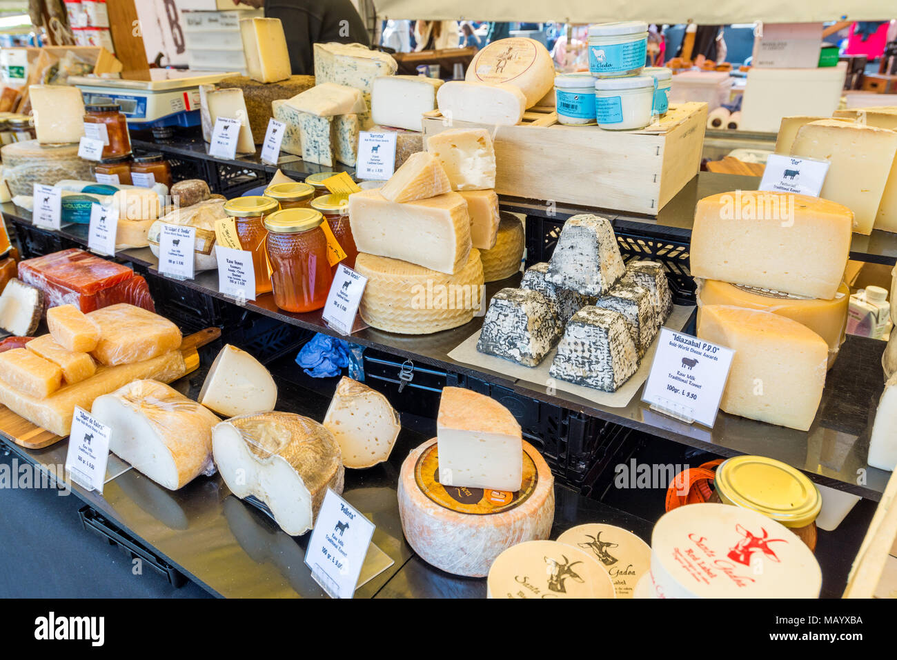 Continental cheeses for sale on market stall, London, UK - Stock Image
