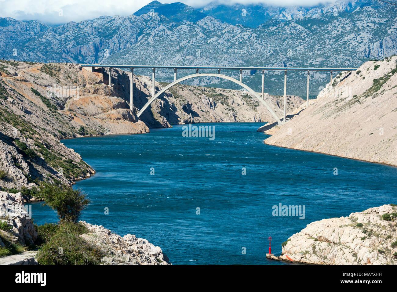 Paski Most Bridge, Pag Bridge, Pag Island, Dalmatia, Croatia - Stock Image