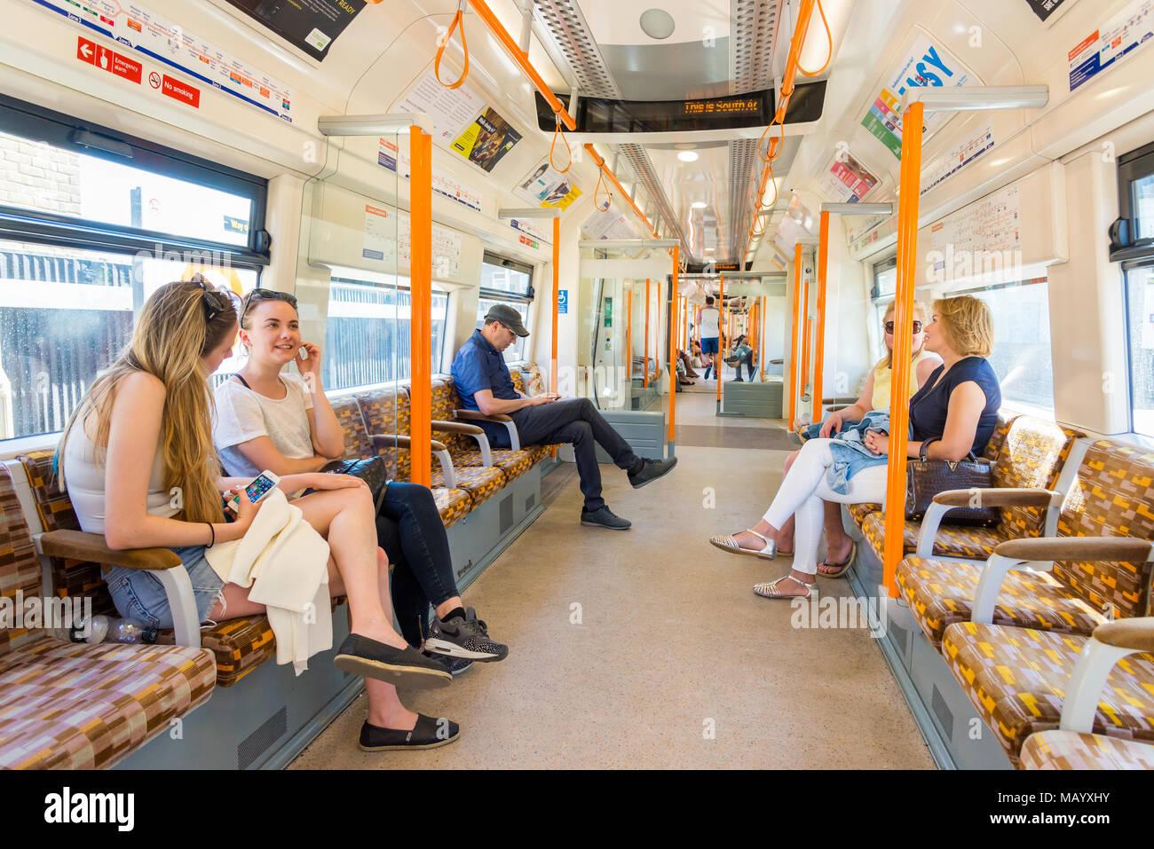 Inside a London Overground train, UK - Stock Image