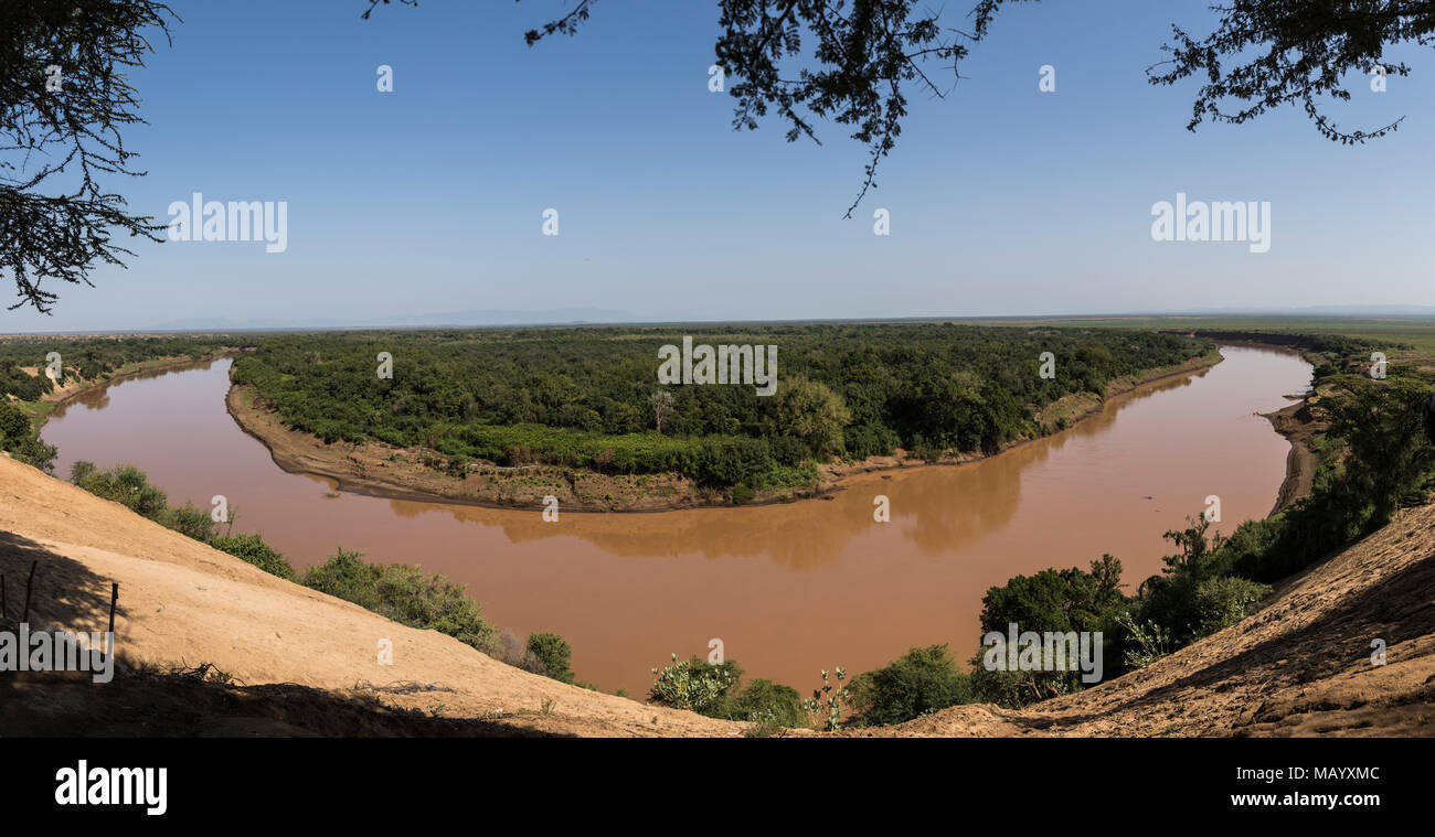 River loop at the Omo, Southern Nations Nationalities and Peoples' Region, Ethiopia - Stock Image