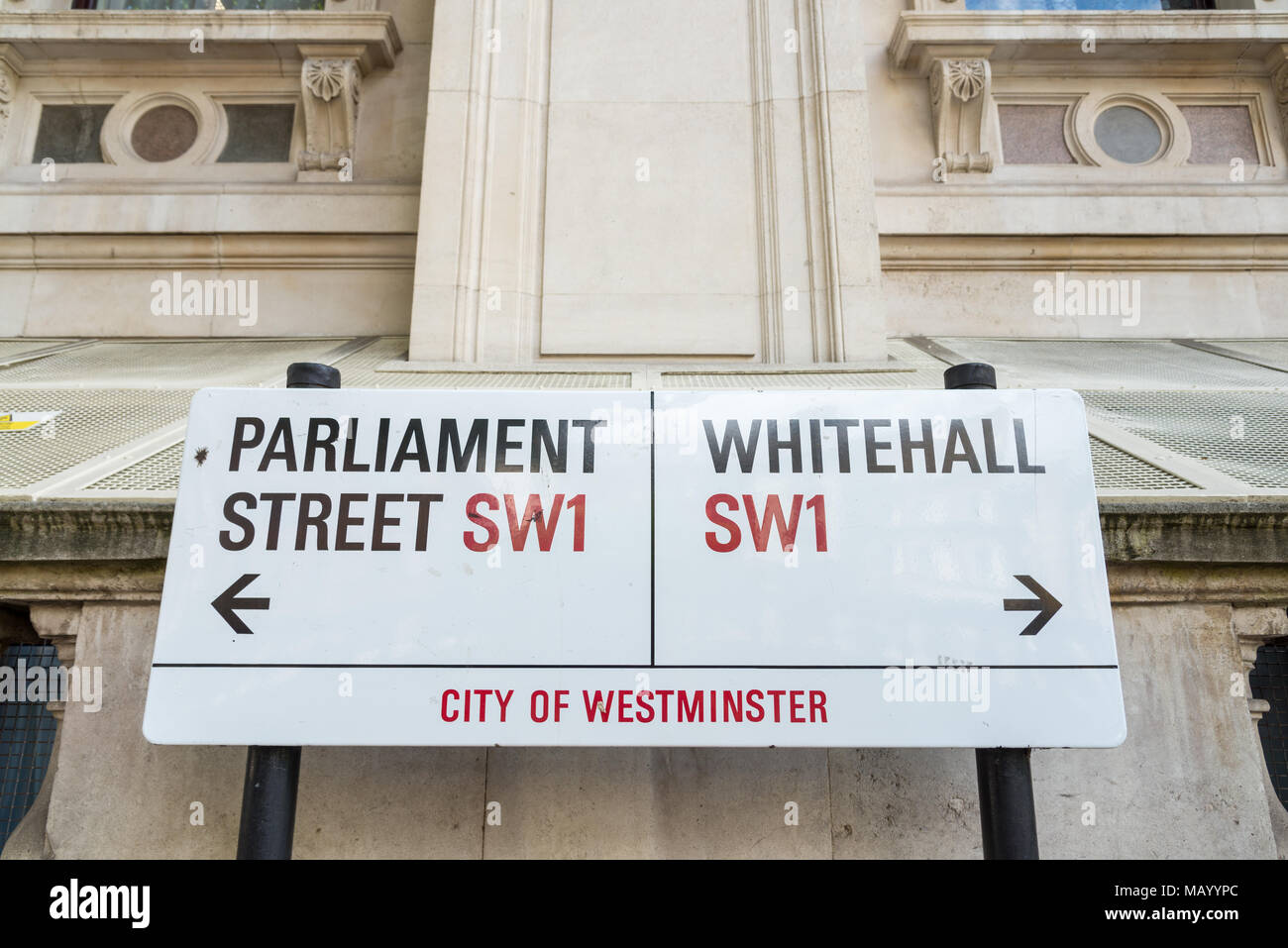 Parliament Street and Whitehall street signs, London, UK - Stock Image