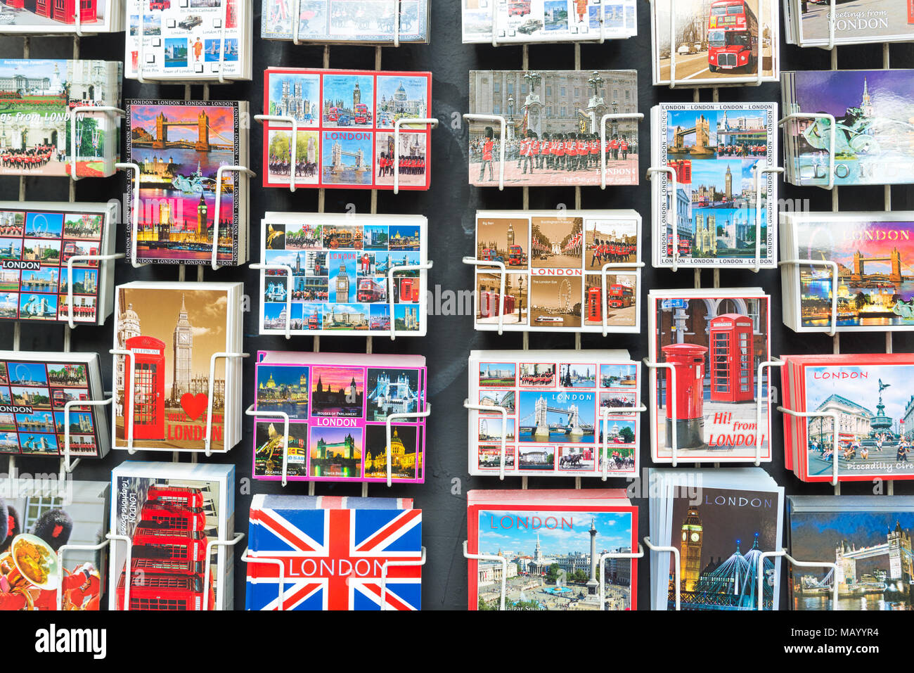 Tourist postcards for sale, London, UK - Stock Image