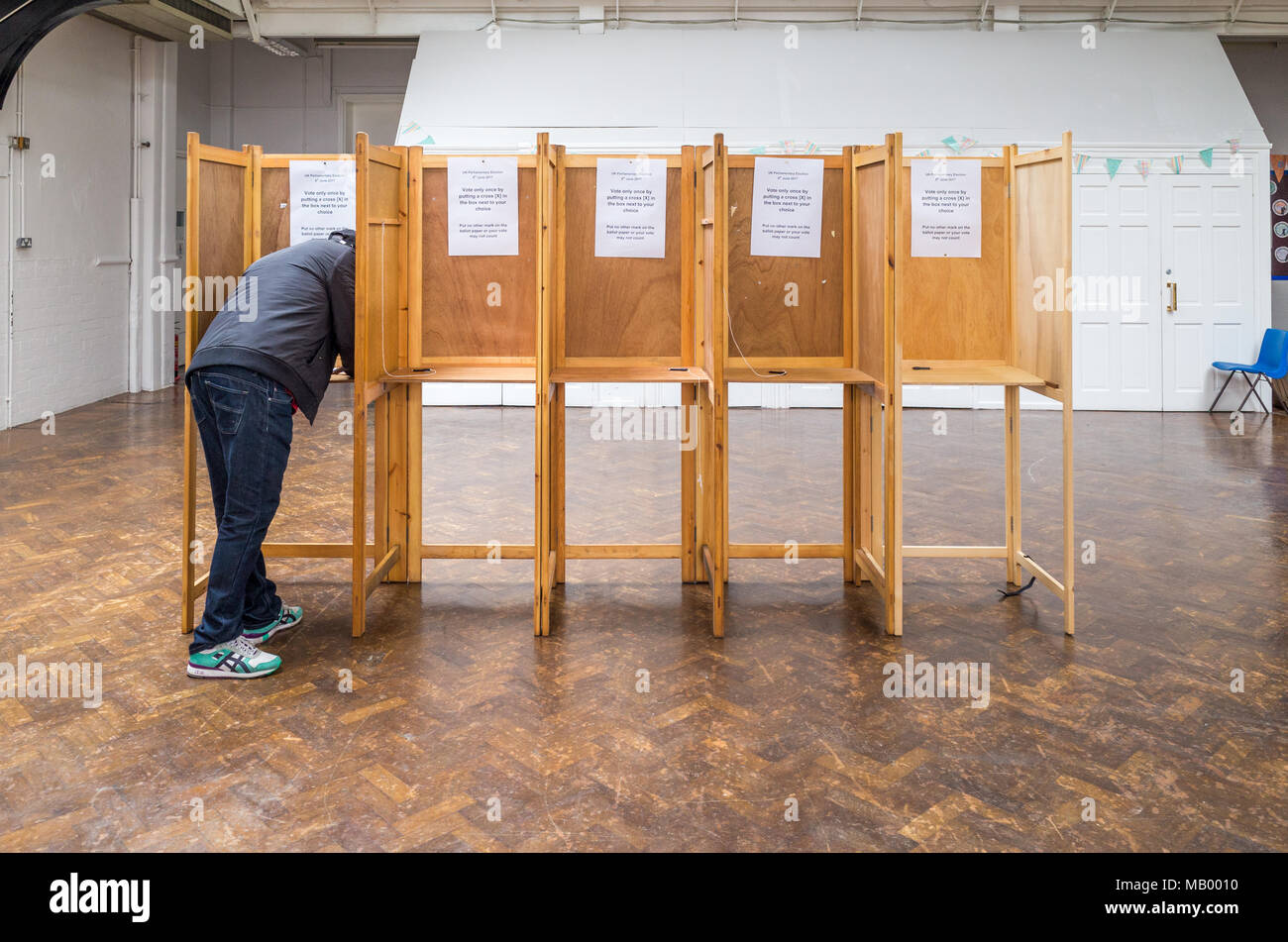 Voting booths in Haringey, London, UK - Stock Image