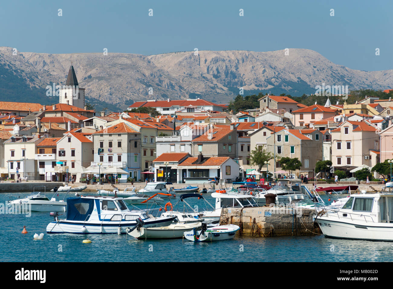 Port, Baska, Island Krk, Kvarner Gulf Bay, Croatia - Stock Image