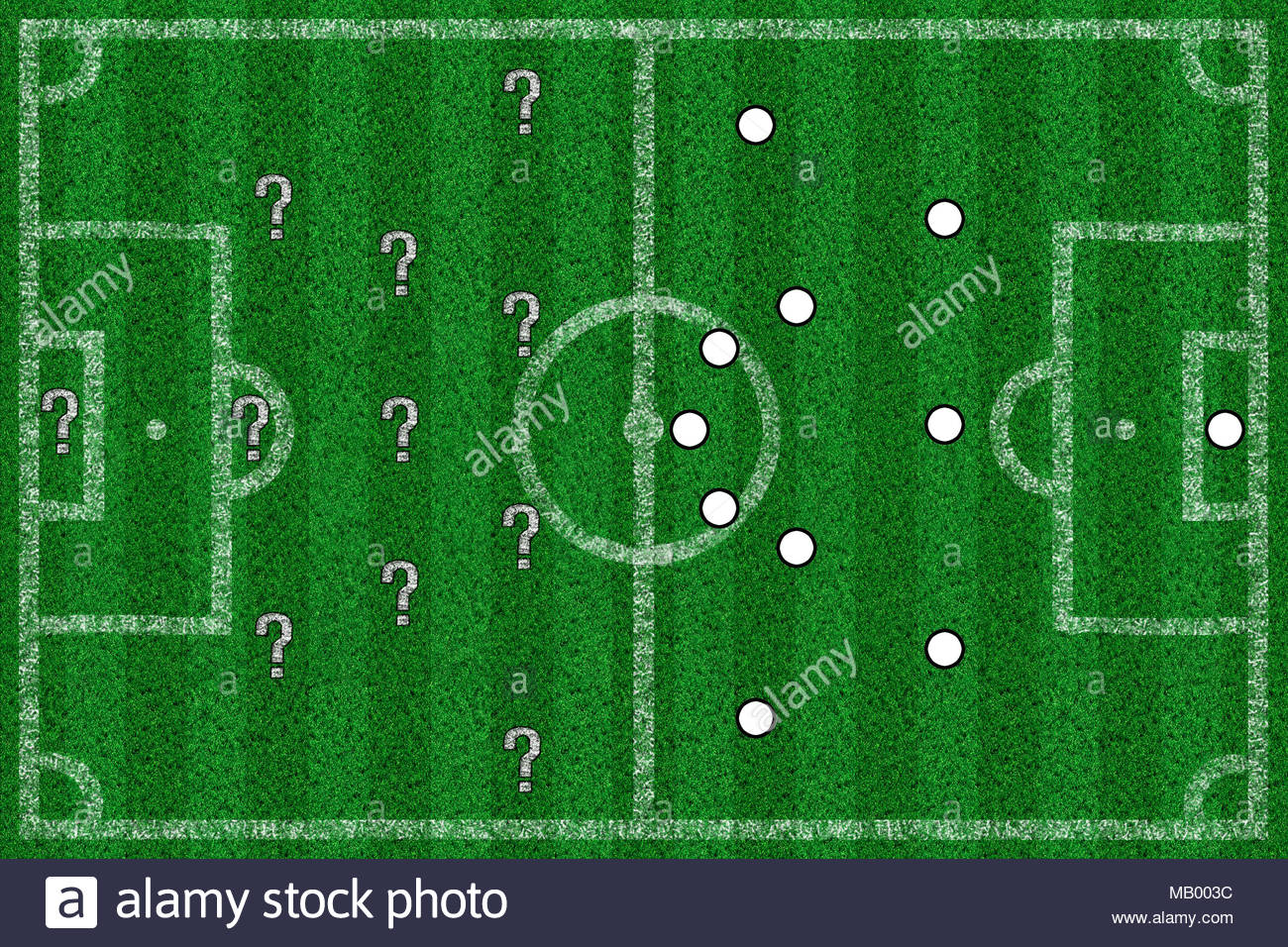 Football field with lines and tactics from above - Stock Image