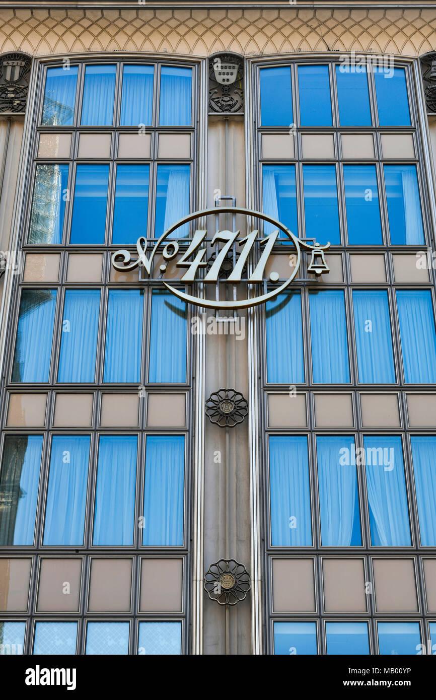 Facade with logo of Perfume 4711 Echt Kölnisch Wasser, Blau-Gold-Haus, old town, Cologne, North Rhine-Westphalia, Germany - Stock Image