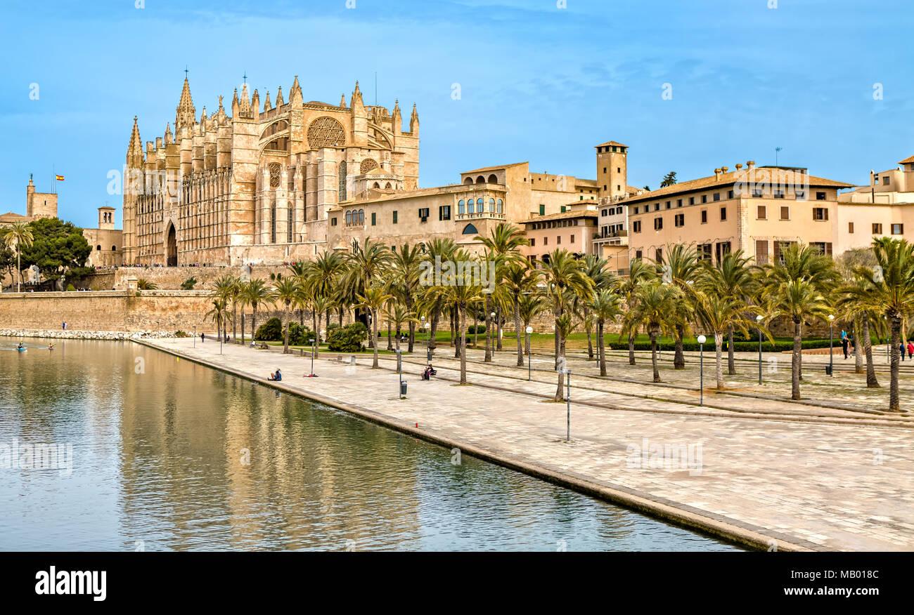 The Cathedral La Seu in Palma de Mallorca - Stock Image