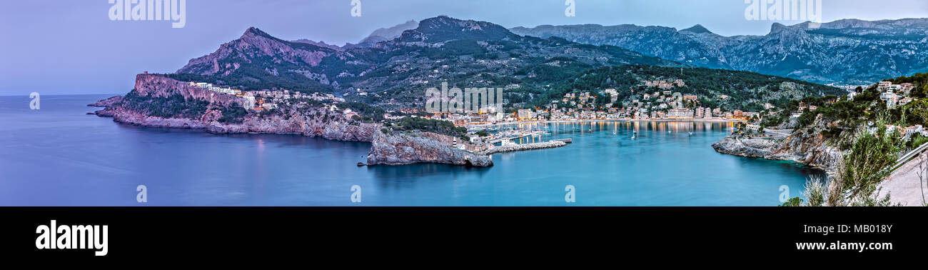 Panoramic Aerial View of Port de Soller in Majorca - Stock Image