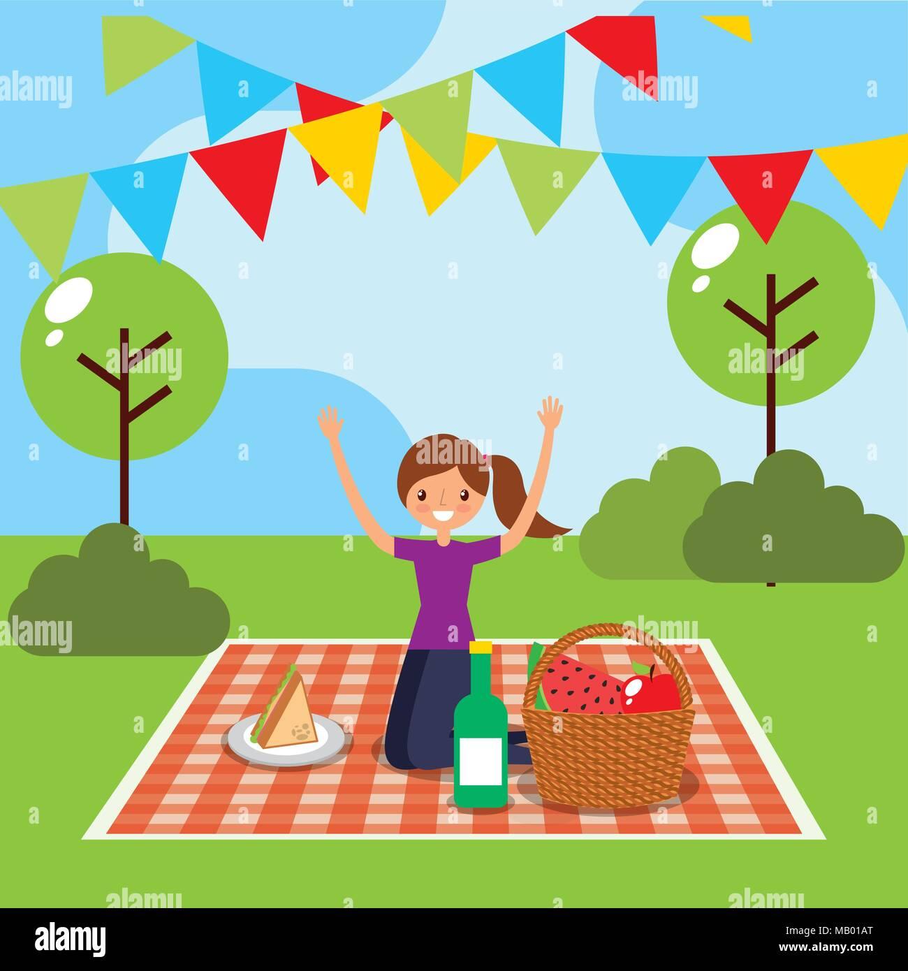 happy people picnic - Stock Vector