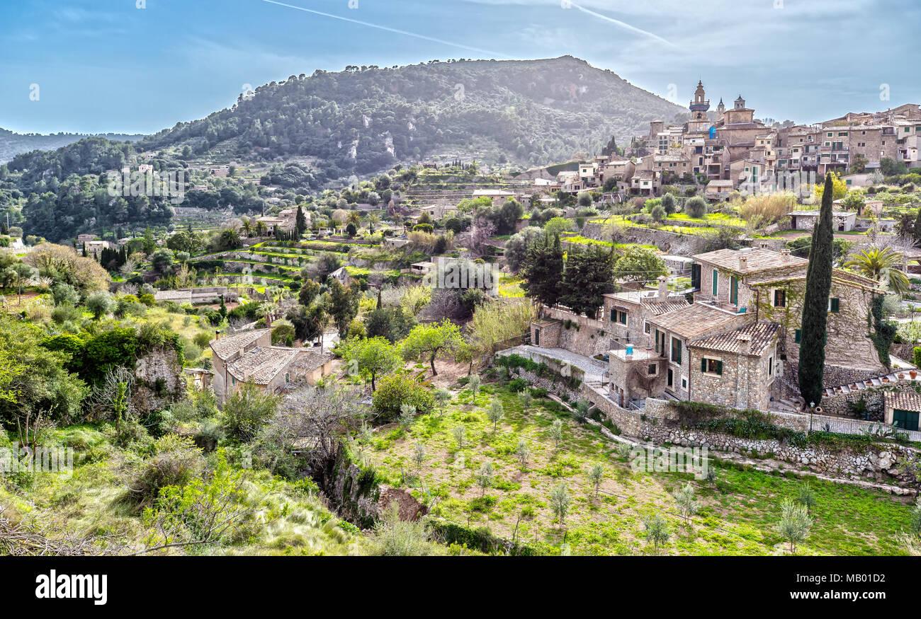 Panorama View of Valldemossa in the Tramuntana Mountains in Majorca - Stock Image