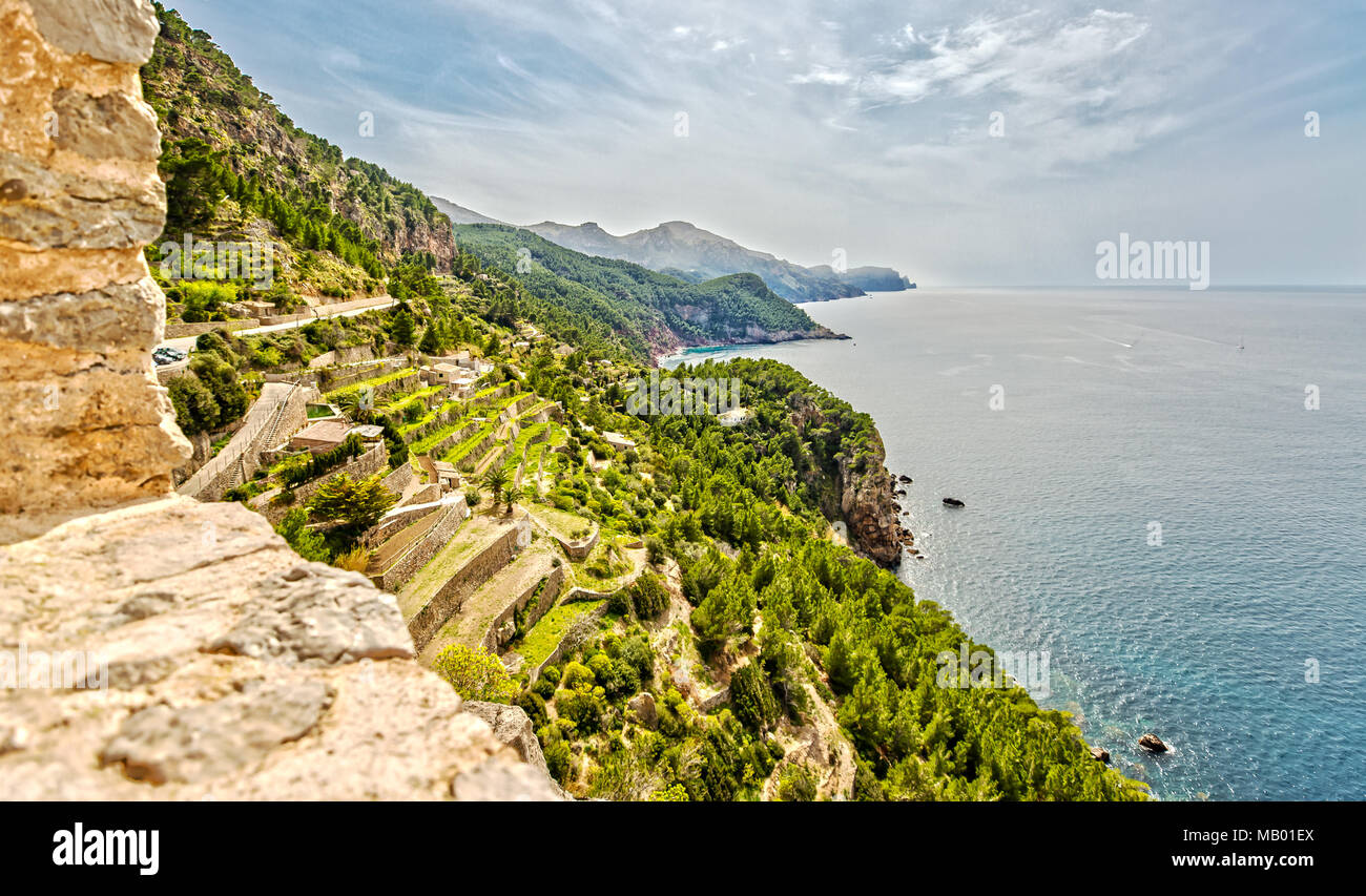 View from the Torre de Verger Watchtower in Majorca - Stock Image