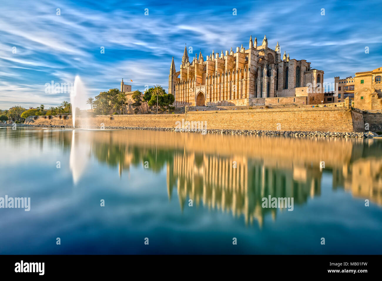 The Cathedral La Seu in Palma de Mallorca - Stock Image