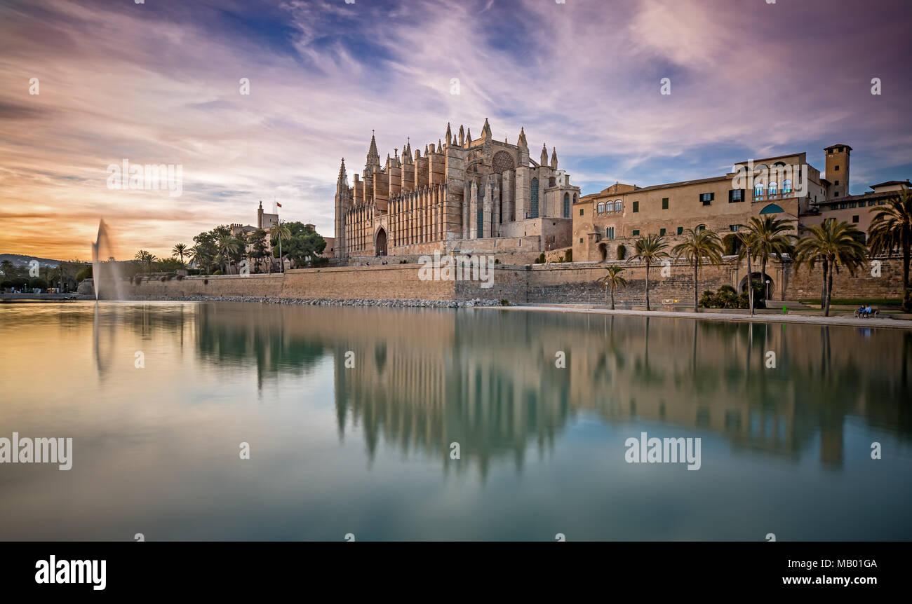 The Cathedral La Seu at Sunset in Palma de Mallorca - Stock Image