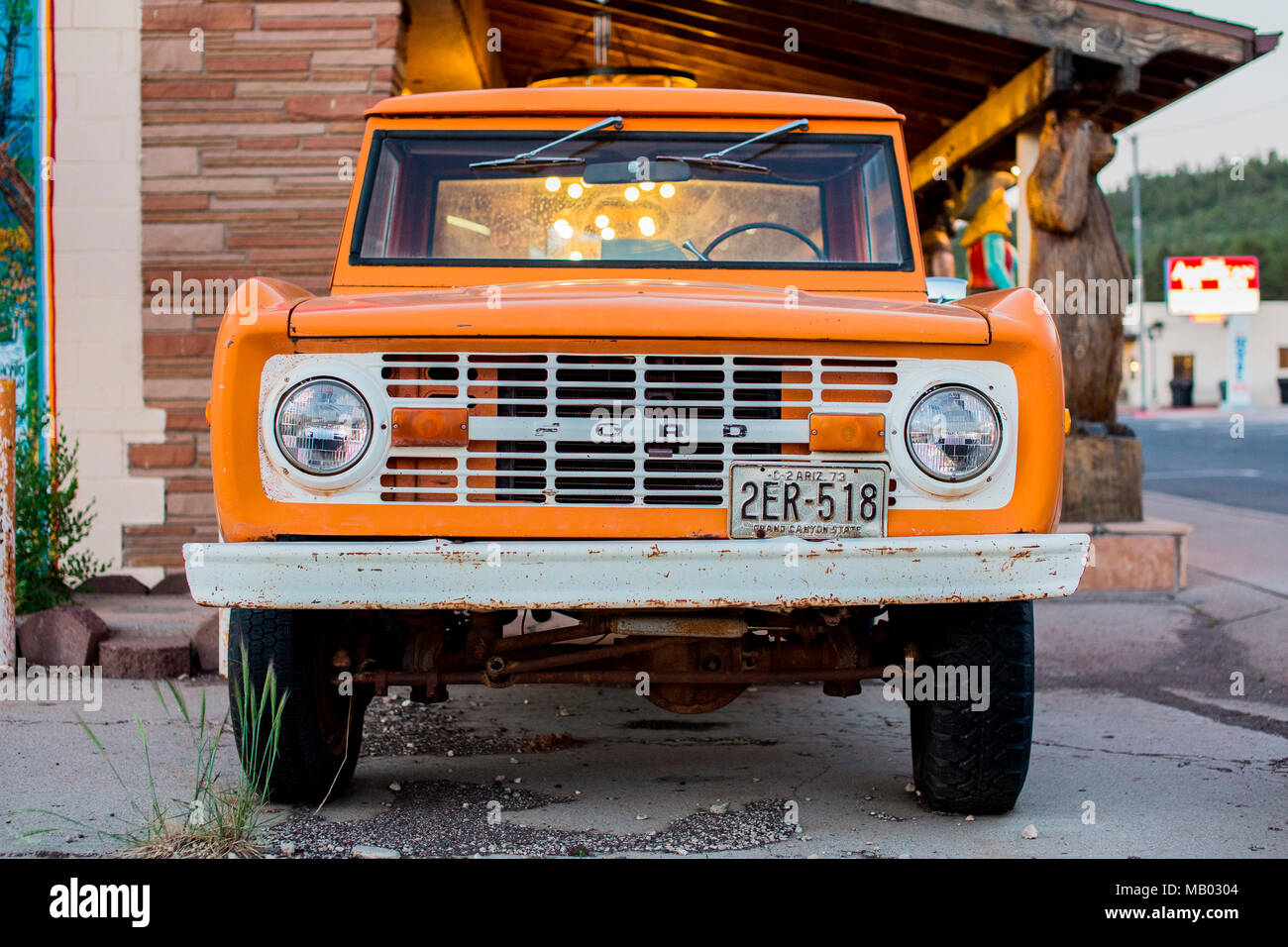 An old classic orange Ford pick up truck Stock Photo: 178867252 - Alamy