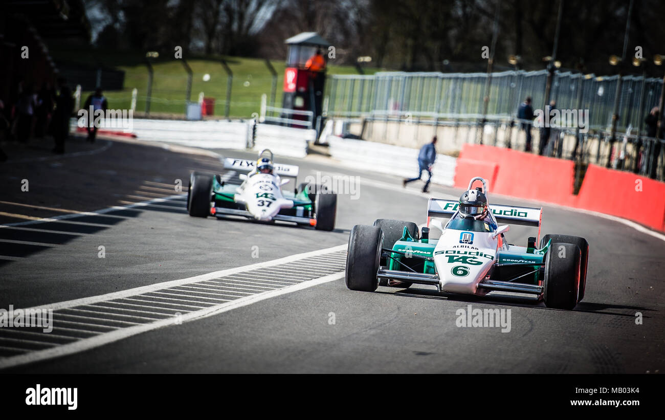 Tommy Dreelan heading down the Pit Lane in his Williams F1 car during the Master Historic Racing Test Day at Brands Hatch Circuit - Stock Image