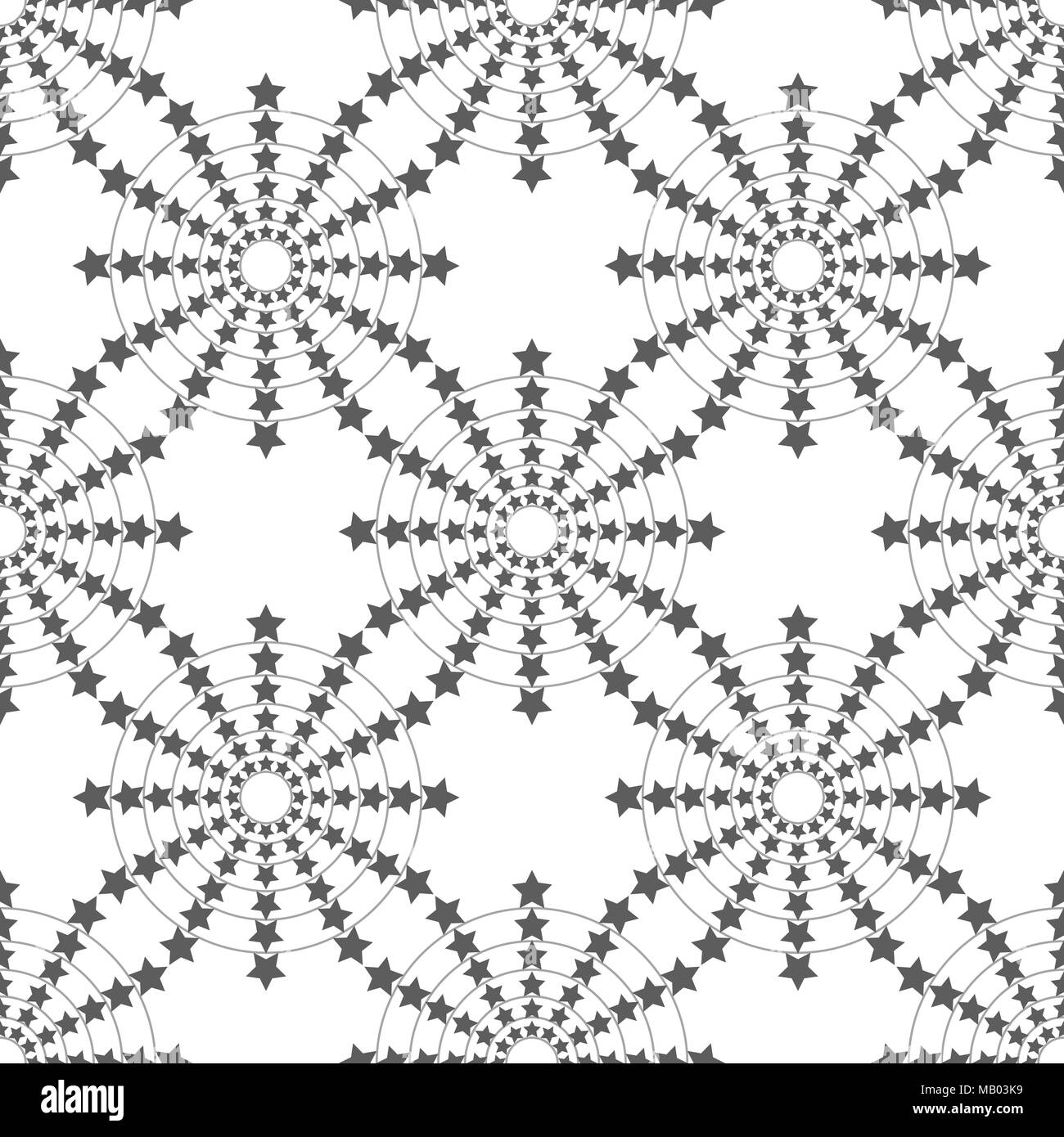 Seamless Circle Pattern. Vector Sparklers Background. Star Christmas Ornament. Simple Circular Blot Graphic Design eps - Stock Image