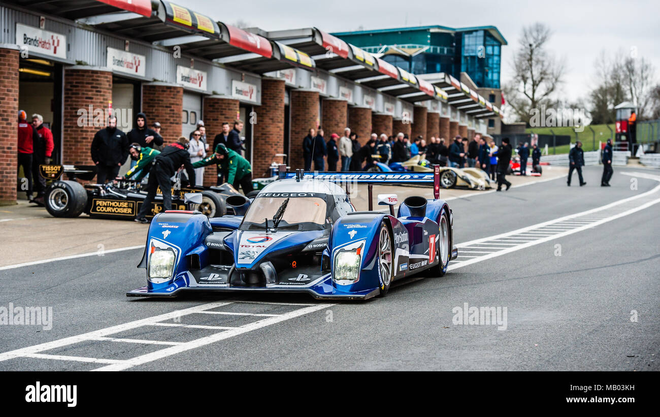 Peugeot Sport, Peugeot 908 LMP1 Le Mans 24Hr car in the Pit Lane during Master Historic Racing Test Day at Brands Hatch Circuit - Stock Image