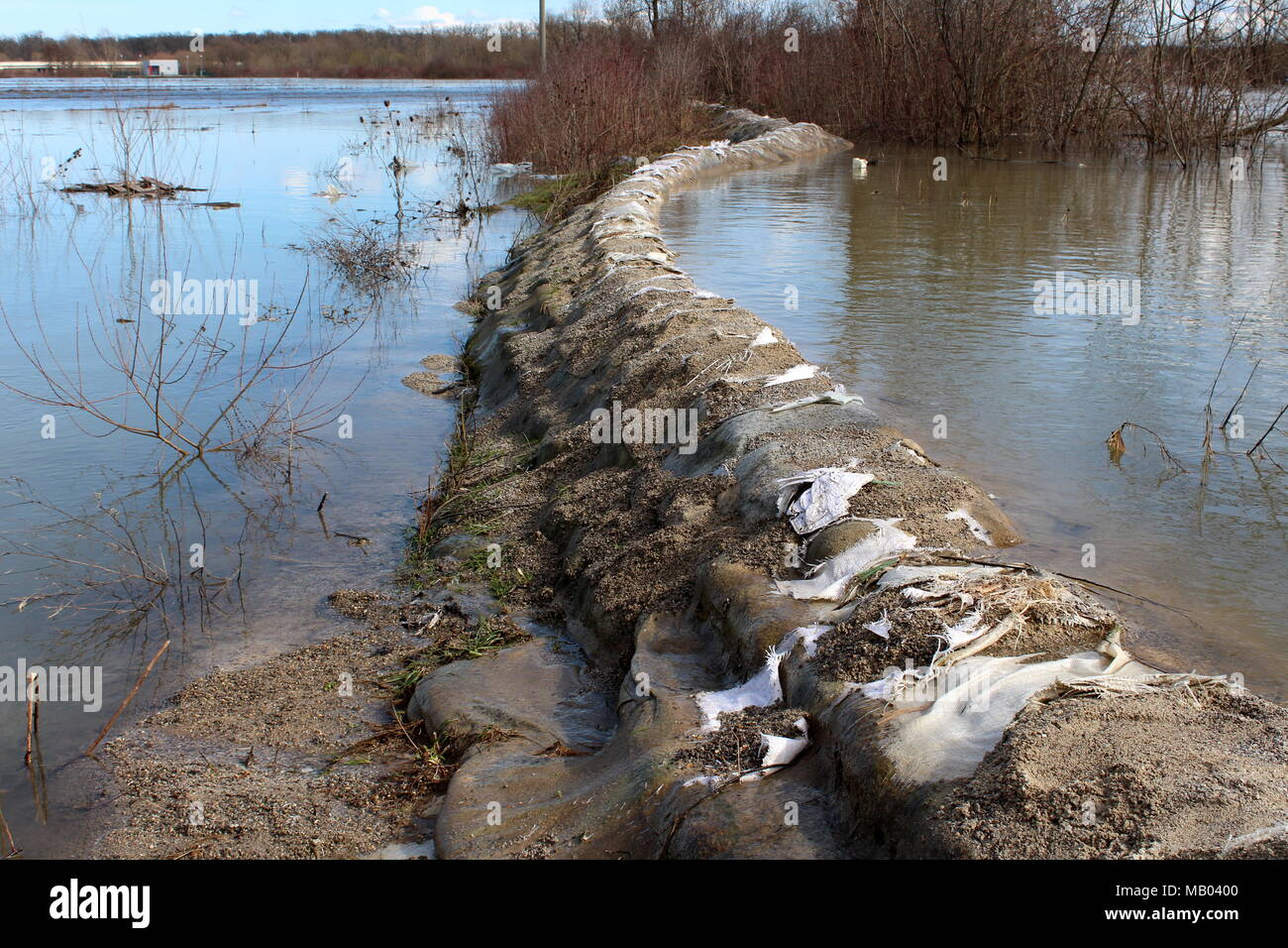 Old sandbags flood protection with destroyed sandbags holding back river during flood with bridge, trees and branches in background Stock Photo