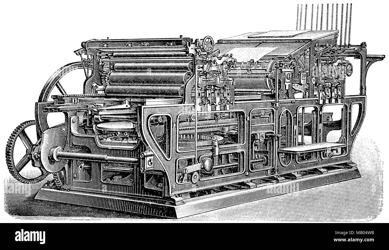Zweifarbendruckschnellpresse, von König & Bauer. two-color printing fast press, from König & Bauer, digital improved reproduction of an original print from the year 1895 - Stock Image