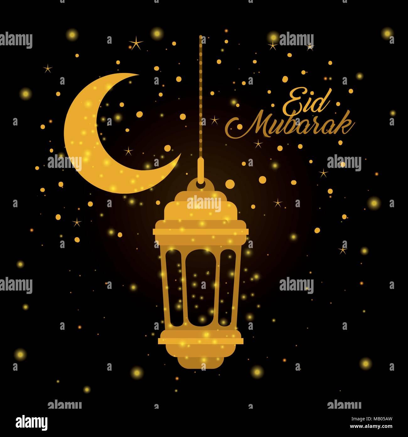 eid mubarak lantern with moon and stars - Stock Image