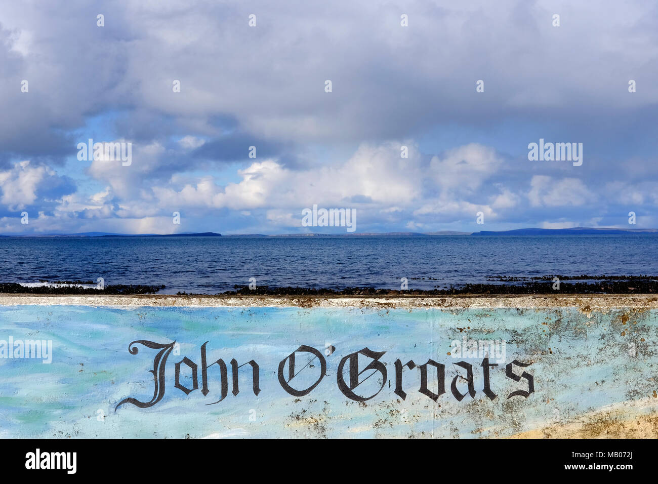 CAITHNESS, UK: John o' Groats which lies on Britain's North Eastern tip and is popular with tourists as one end of the longest journey on the mainland - Stock Image