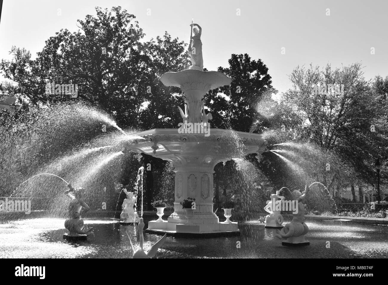 Fountain at Forysth Park - Stock Image