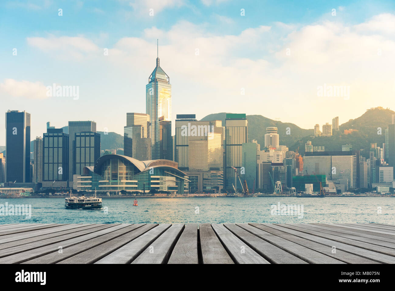 Hong Kong downtown on daylight shot. - Stock Image