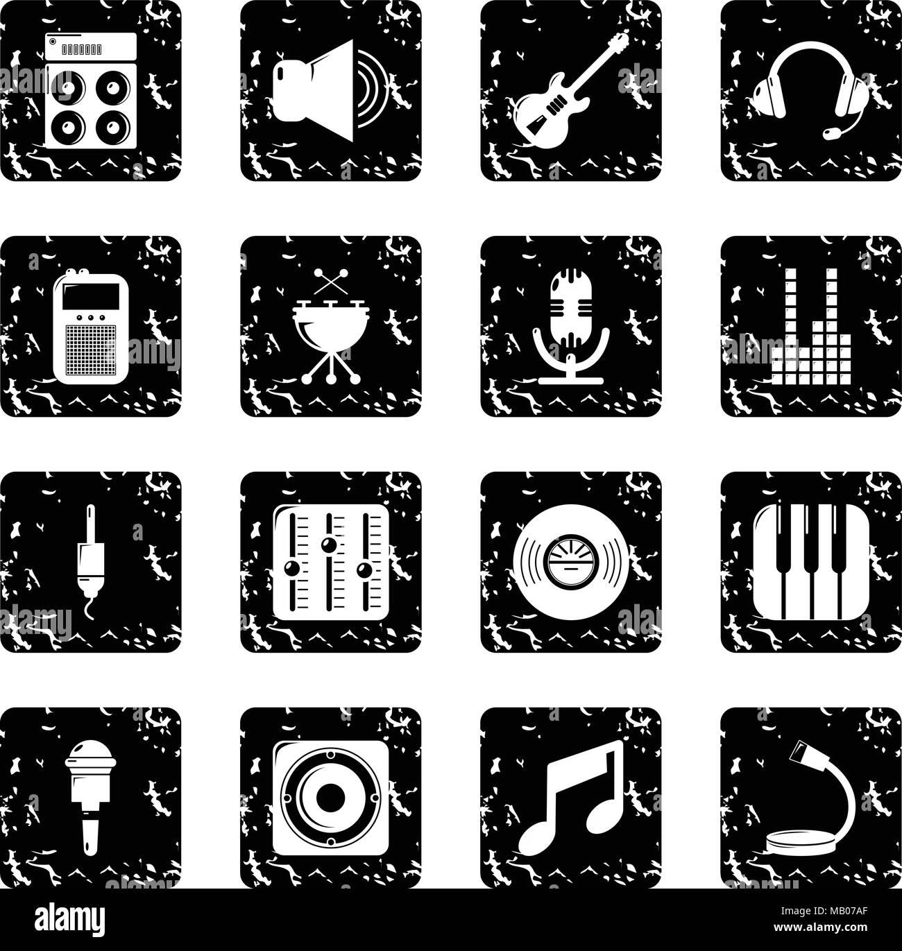 Recording studio symbols icons set grunge vector - Stock Image