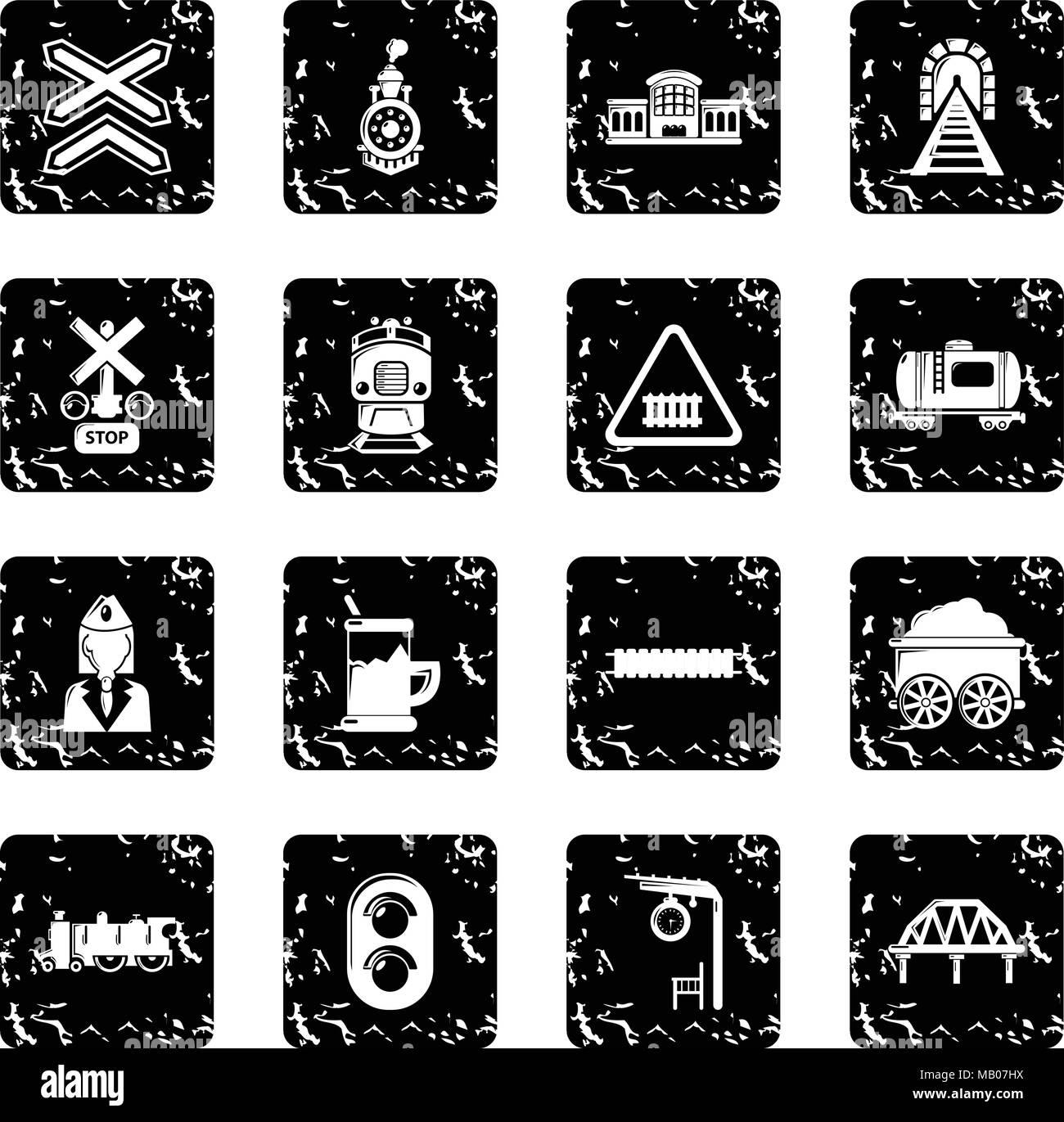 Train railroad icons set grunge vector - Stock Vector
