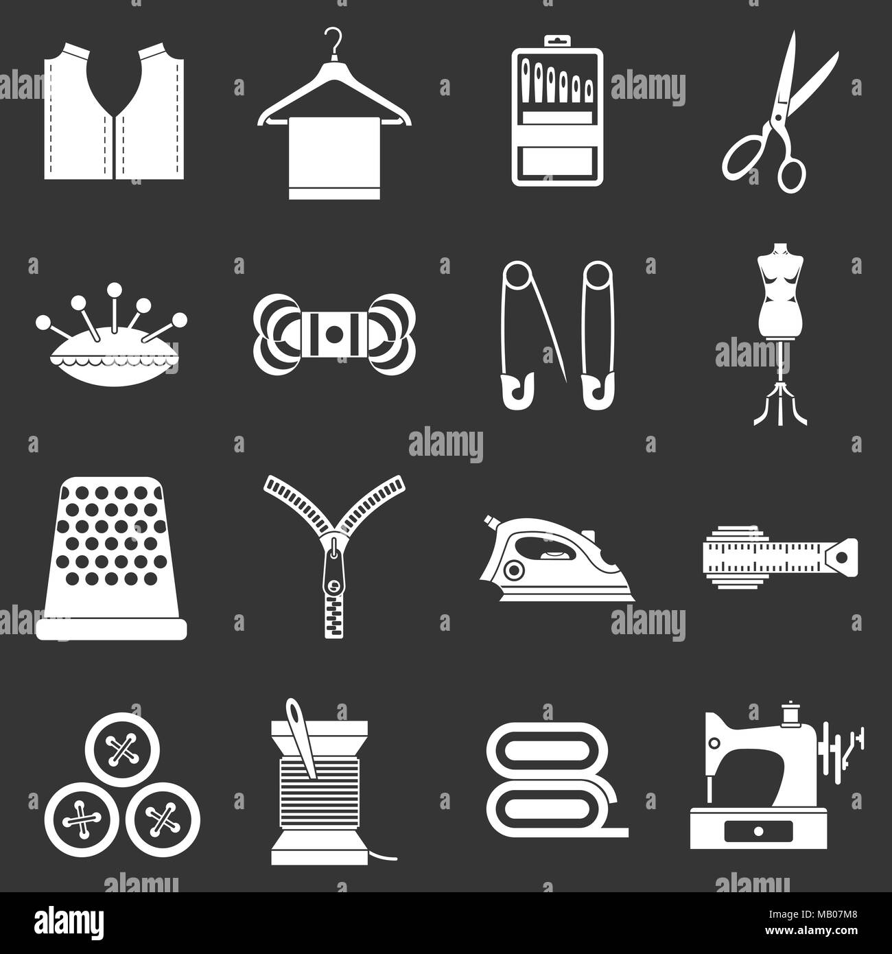 Sewing icons set grey vector - Stock Image