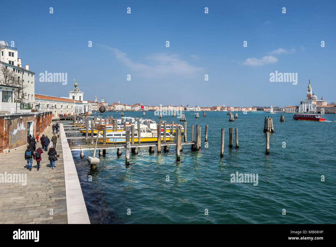 Waterbus platform at Zattere in Venice - Stock Image
