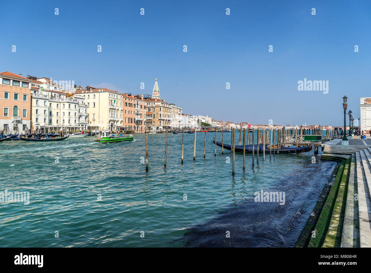 Looking across the Grand Canal from Campo della Salute - Stock Image