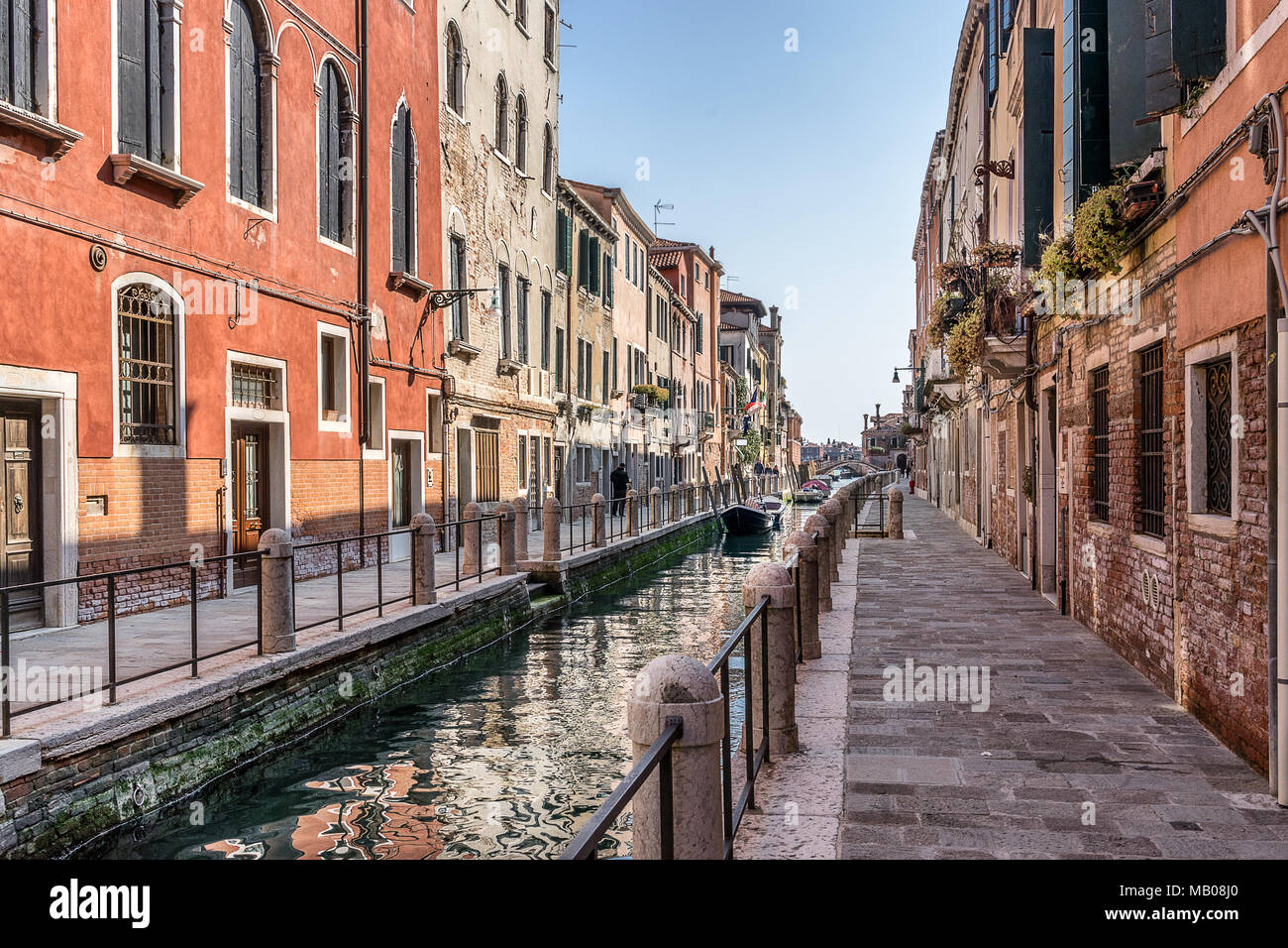 Colorful canals in Dorsoduro in Venice Italy - Stock Image
