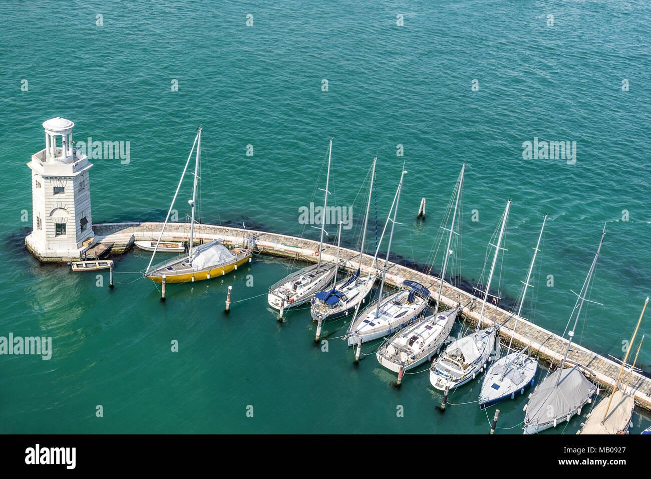 The marina on Isola S Giorgio Maggiore in Venice - Stock Image