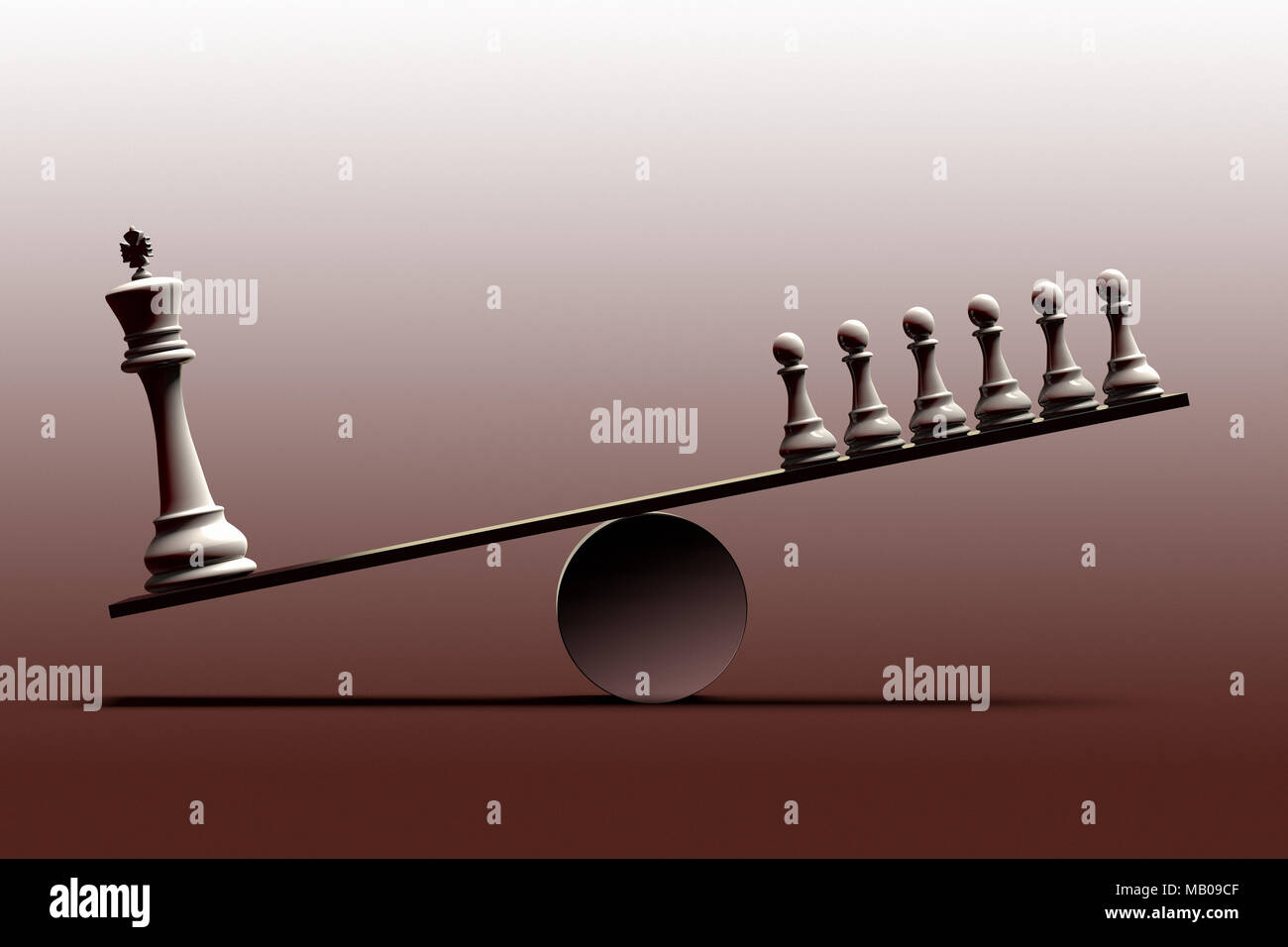 3D rendering of a onceptual representation of social inequality and the imbalance between social classes represented with chess pieces - Stock Image