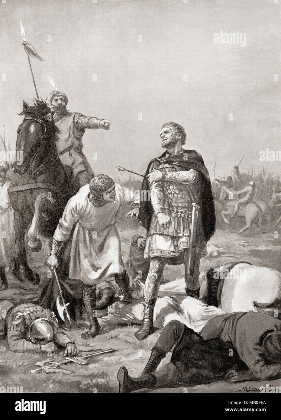 The capture of Diogenes at The Battle of Manzikert in 1071 by Alp Arslan. Alp Arslan, 1029 – 1072, real name Muhammad bin Dawud Chaghri.  Second Sultan of the Seljuk Empire.  Romanos IV Diogenes, aka Romanus IV.  Member of the Byzantine military aristocracy crowned Byzantine emperor.  After the painting by Margaret Dovaston, (1884-1954).   From Hutchinson's History of the Nations, published 1915 - Stock Image